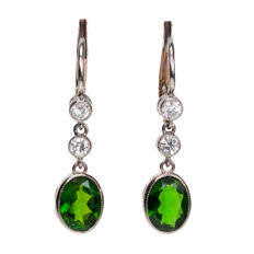 Chrome Diopside, Diamond, Platinum Earrings