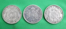 France – 5 Francs 1867-BB, 1868-BB & 1869-BB (lot of 3 coins) – Napoléon III – Silver