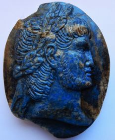 Huge Lapis Lazuli Cameo of Emperor Nero. 71 x 55 x 12mm