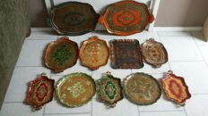 Collection of 11 vintage trays