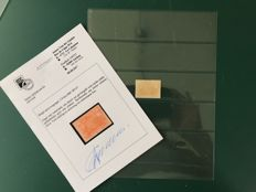 Belgium 1882 – 2 Francs railway stamp with watermark and photo certificate - OBP TR14