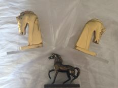 Horse Bookends in Methacrylate, and Paperweight in Bronze