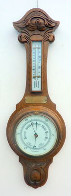 Oak English aneroid barometer with thermometer