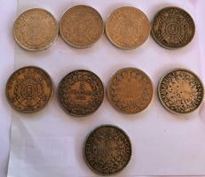 France – 5 Francs 1831/1873 (lot of 9 coins) – Silver