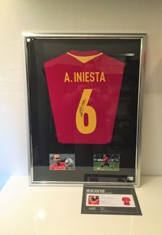 Andres Iniesta Back Signed Spain 2016 Home Shirt Deluxe official COA