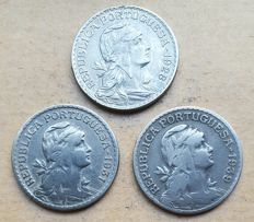 Portuguese Republic – 3 coins – 1 Escudo 1928 . Above Average & 1 Escudo 1931/1939