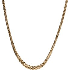 14k - Yellow gold braided link necklace - Length: 45 cm