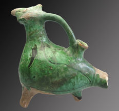 Medieval glazed terracotta Aquamanilla in the form of a bird - 15.5 cm