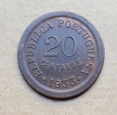 Portuguese Guinea / Republic – 20 Centavos 1933 . Superior condition