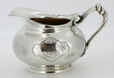 Christofle - Antique 19th Century silver plate cream jar with initials, Circa.1880
