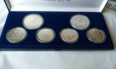 Russia - 6 silver coins and one 1977–1980 'Olympics Collection' coins set case.
