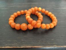 Old Baltic Amber bracelet set from the 1920-1930's, USSR era, 30 grams