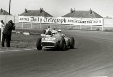 1955 British Grand Prix  Stirling Moss  Mercedes   Photograph. 54cm x44 cm. Great Image.