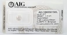 Round Brilliant - 1.11 carat -  H color - I1 clarity - AIG -  SEALD certificate -  - 3 x  VG , None .