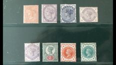 Great Britain 1865/1900 – selection of 8 Mint Hinged stamps – Michel 24/100