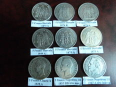 France – 5 Francs 1828/1878 (lot of 9 coins) – Silver.