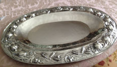 Silver tray, engraved and signed,  Italy, 1960s
