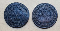 Portugal – 2 coins – V Reis 1734 & V Réis 1736 –  João V Above Average