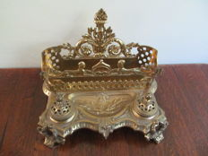 Louis XVI style brass inkstand with letters and pen holders - France - 19th century