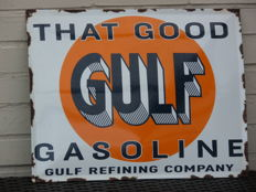 That good Gulf gasoline convex enamel sign, 1990s.