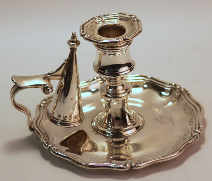 Antique Georgian solid sterling silver chamberstick, Creswick & Co (Thomas, James & Nathaniel Creswick), Sheffield 1837