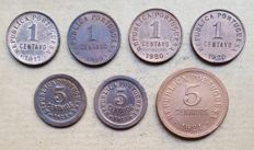 Portuguese Republic – Lot of 5 coins – 1 Centavo 1917/1918/1920 Open & Closed 'P' – 5 Centavos 1925/1927 & 1921 . Top Condition