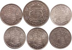 United Kingdom - Lot of 6 coins 1 x Crown and 5 x Half Crown - 1937/1946 - George VI - silver