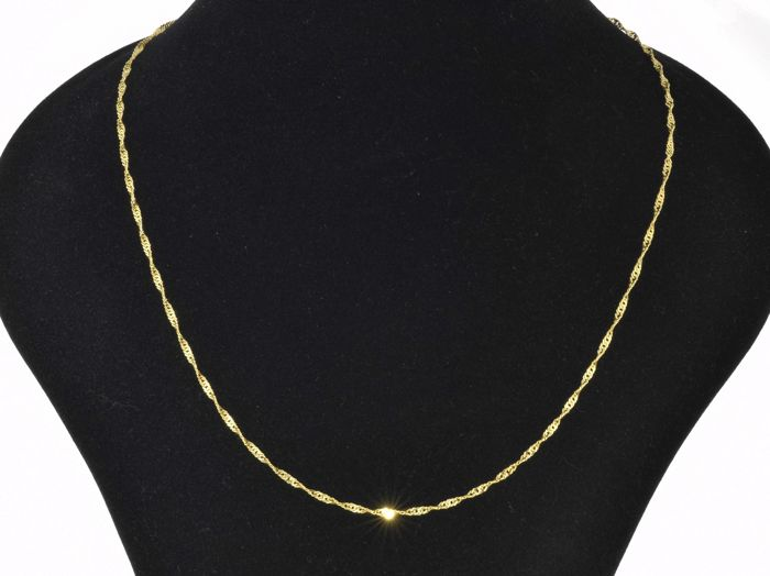 """18k Gold Necklace. Chain """"Singapore"""" - 50 cm • No reserve price •"""
