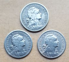 Portuguese Republic – Lot of 3 coins – 50 Centavos 1927/1931 and 1938
