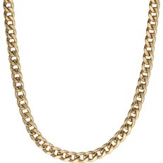 14 kt - Yellow gold, coarse curb link necklace set with 2 sapphires at the clasp - Length: 45 cm