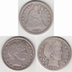 United States – 1891 S Seated Liberty Quarter and 1898 & 1904 Barber – silver