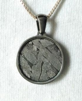 Seymchan Meteorite pendant with Widmanstatten pattern, on sterling silver chain - 925 mm - 20 g