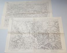 2 German field / Relief maps of Verdun and Rethel in Northern France from World War I