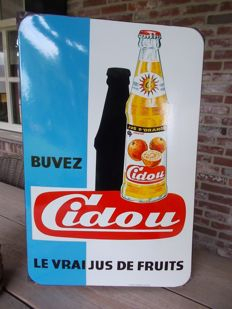 "Enamel advertising sign ""Cidou"" orange juice, 1960s"