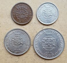 Portuguese Timor / Republic – 4 coins – Set – 50 Centavos, 2$50 Escudos, 5 Escudos & 10 Escudos – 1970 . Top Condition