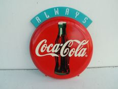 Coca Cola advertising-round. ,,Plastic is fantastic,,. Made in UK. Original. Vintage ca.1990 London.Coca Cola logo.