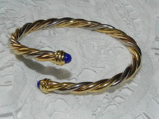 Cartier - Tri-Tone Gold and Lapis Lazuli Bypass Bangle 18 K - Gold 24,60g