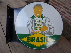 "old enamel sign ""brasil"" Cafe prime, 1950s"