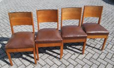Manufacturer unknown - four vintage chairs, with 'Hague School' influences, Netherlands, first half 20th century