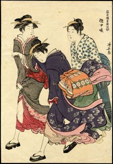 Woodblock print by Torii Kiyonaga (1752 - 1815) (reprint) - Entertainers of Tachibana-cho - Japan, approx. 1875