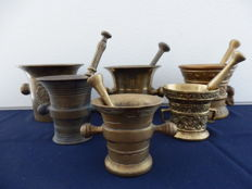Collection of 6 solid copper mortars