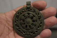 Medieval CRUSADERS Rosette Bronze Horse Harness Pendant-71 mm