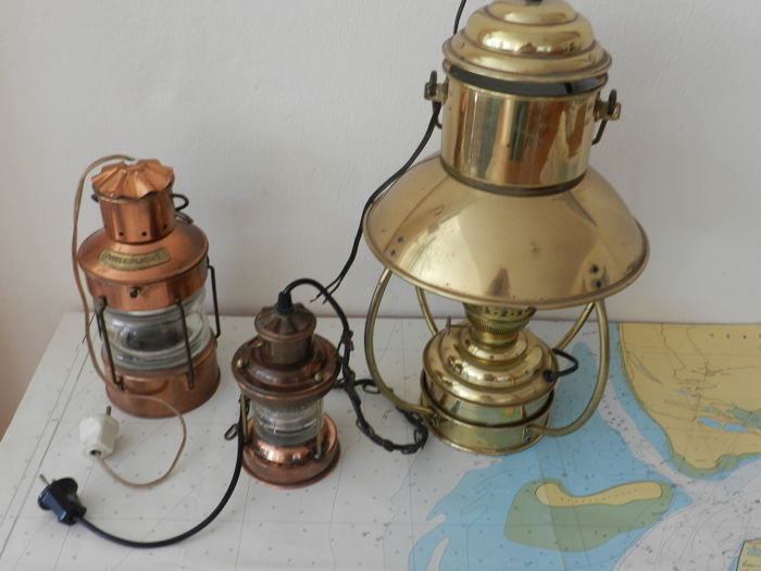 Collection of 3 ships lights, 2  Copper mast light,s and a Large Brass Pendulum Trawler Lamp .  DHR  Rotterdam Netherland
