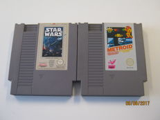 2 Nintendo NES games: Metroid and Star Wars.