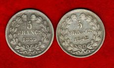 France - 5 Francs 1839-B, 1842-BB (set of 2 coins) - Louis Philippe - Silver