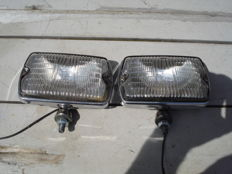 Two spotlights made by the brand CIBIE type IODE 35 with a width of 150 mm from the 1970s and 1980s.