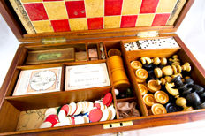An early Victorain mahogany fully fitted games box - England - circa 1840