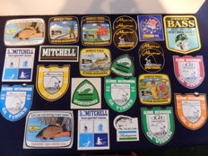 Collection of 26 stickers on the theme of fishing