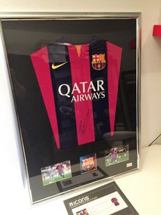 Andres Iniesta Front Signed Barcelona 2014-15 Shirt   Deluxe official COA