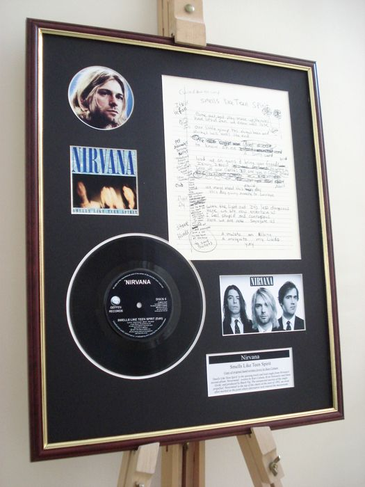 "Nirvana Smells Like Tenn Spirit original handwritten lyrics display / 7"" vinyl record display"